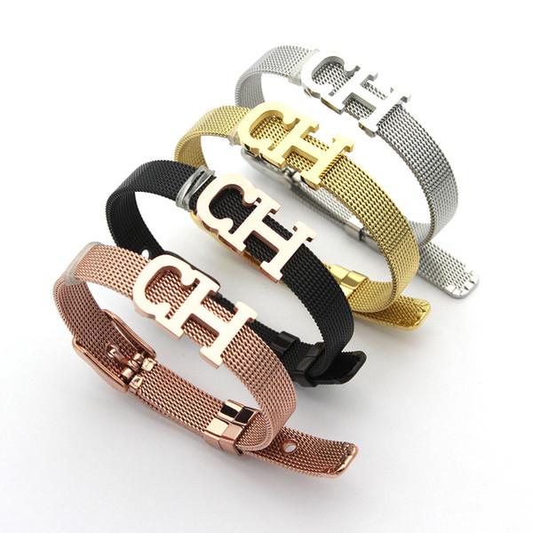 Nuovo arrivo in acciaio inox lettera c braccialetto cinturino in pelle fibbia cinturino braccialetto di moda donna gioielli di marca nero multicolor