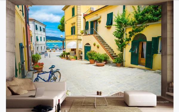 3D custom photo silk background mural wallpaper Italian island town landscape 3D TV sofa background mural Papel de parede