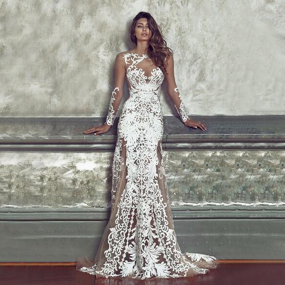 Sexy Elegante dama verano playa encaje transparente Flores Hollow vestido maxi blanco estilo de la calle princesa mujeres boda fiesta noche vestidos largos