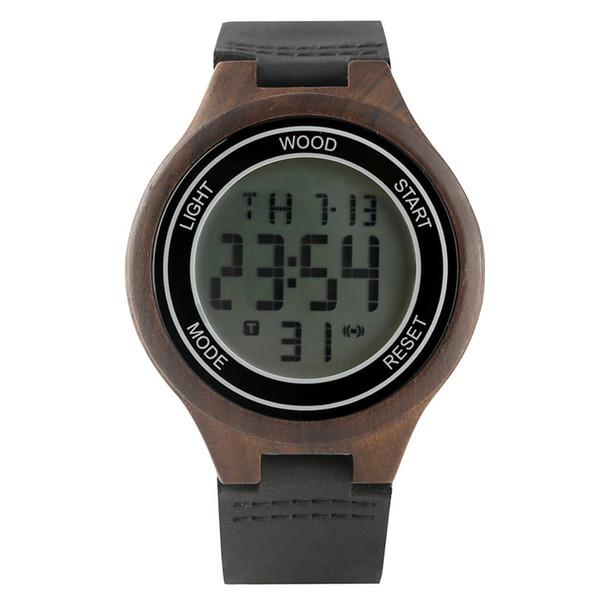 Творческий цифровой светодиодный дисплей деревянные часы для мужчин случайные зебра деревянные электронные часы для мужчин прочный кожаный ремешок деревянные наручные часы