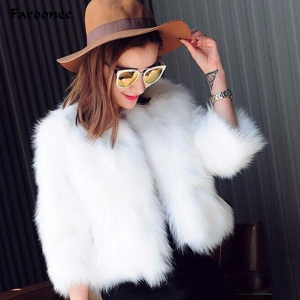 yabsera / 2019 Casaco de Inverno Fluffy Faux Fur Coat para Mulheres curto Estilo Casamento Outwear Cabeludo Plus Size Femme Fur Faux Jackets