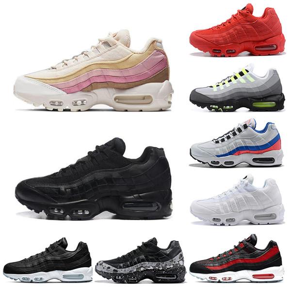 Compre Nike Air Max 95 Para Hombre Baratas Triple Blanco Negro Lo Que El OG Grape Neon TT Negro Rojo Hombres Zapatillas De Deporte Zapatillas