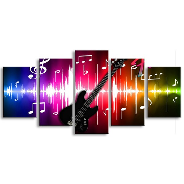 5 pieces high-definition print guitar music canvas poster and wall art living room picture HOUZI-002