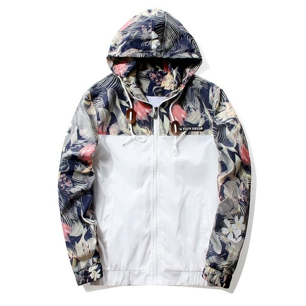 Floral Jacket 2018 Autumn Mens Hooded Jackets Slim Fit Long Sleeve Homme Trendy Windbreaker Coat Brand Clothing Drop Shipping #384957