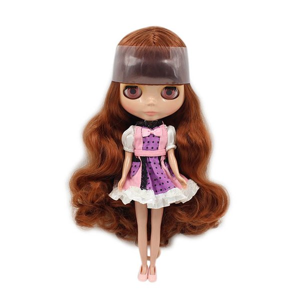 Blyth Nude Doll 1/6 Brown Long Wavy Hair With Bang Normal Nody TAN skin 30cm bjd Suitable For DIY No.280BL0623 gift
