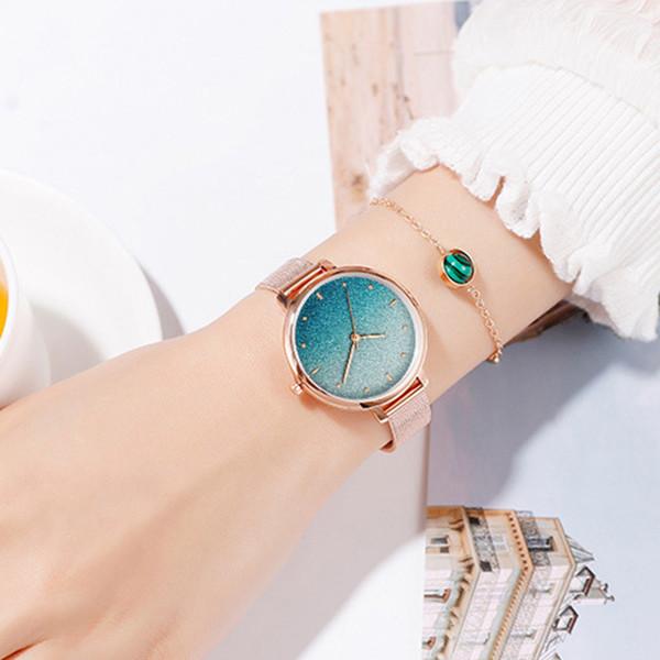 2019 Novas Senhoras Moda Inovador Assista Combinação Set Colorido Estrela Net Pequena Cinta De Quartzo Relógio, Colar Brilhante, Pulseira.