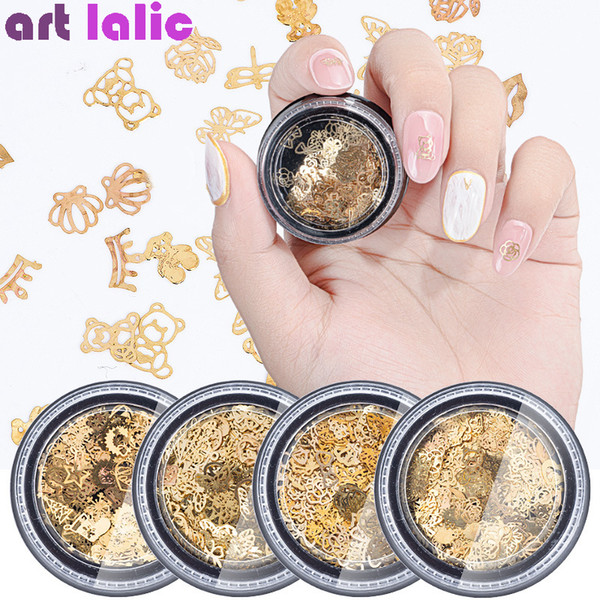 1 Bottle 3D Gold Metal Slices Nail Art Decoration Christmas Snowflake Star Mixed Design Hollow Tiny Chip Manicure Accessories