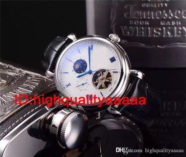 flywheetourbillon hommes de montre d'or Complications Calendrier perpétuel Phase de lune squelette automatique cadran noir Montres Montre bracelet hommes robe