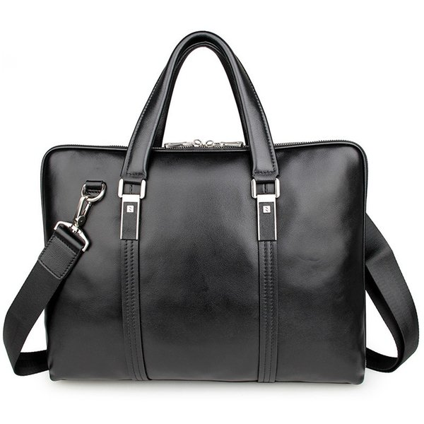 High Quality Genuine Cow Leather Classic Black Men Briefcase Business Handbag For Male 15 Inch Laptop PR087326 #208895