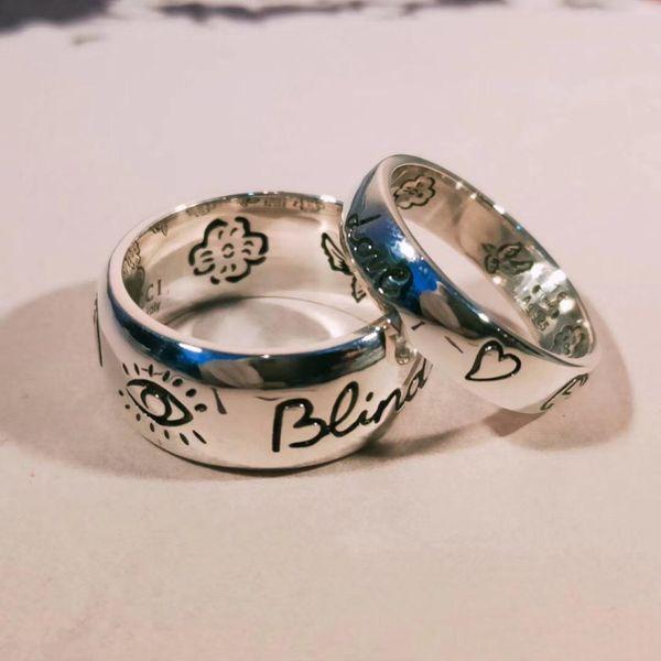 Kör aşk için 925 ayar gümüş Göz kalp çiçek kuş çift yüzük