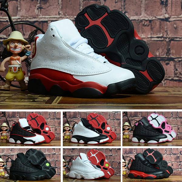 Nike Air Jordan 13 Crianças sapatilhas 13 tênis de basquete 2018 para meninos meninas preto vermelho branco preto rosa barato XIII venda alta qualidade superior EUA 11C-3Y