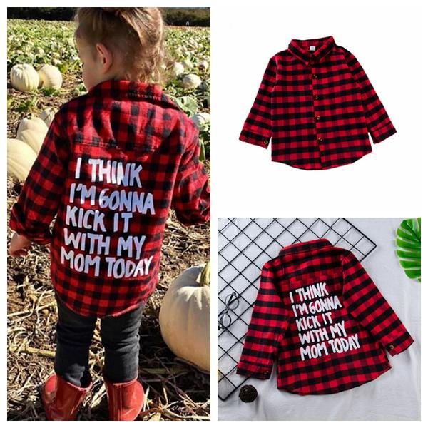best selling Baby Kids Clothes Girls Plaids Shirts Boys Check Grid Tops Long Sleeve Blouse Fashion Letter Printed Preppy Cardigan Casual Shirt YFAYP966