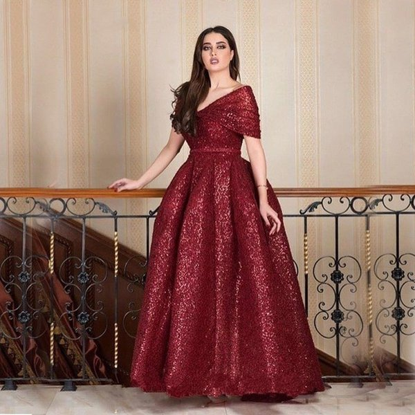 New Arrivals Burgundy Sequined Mother Of The Bride Dresses Plus Size Ball  Gown 2019 Arabic Off Shoulder Evening Formal Dress Mothers Dress Wedding ...