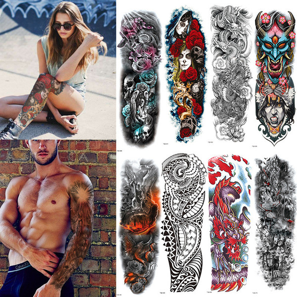 Extra Large Full Arm Temporary Tattoos Sleeves Peacock peony dragon skull Designs Waterproof Tattoo Stickers Body Art paints for Men Women