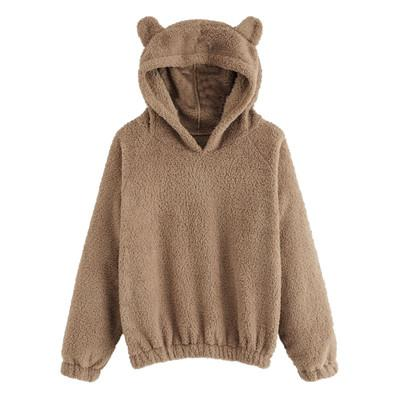 Women Hoodies Sweatshirt Kawaii Fleece Fur Coat 2019 Winter Warm Teddy Bear Ears Soft Jacket Thick coat Hooded Outwears sudadera