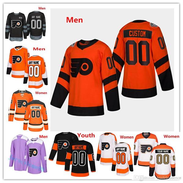 Personnaliser Flyers de Philadelphie 2019 Stadium Series Hommes Femmes Jeunes Enfants Enfant Jersey Tout Numéro Nom 9 Ivan Provorov Hartman Gritty Giroux Voracek