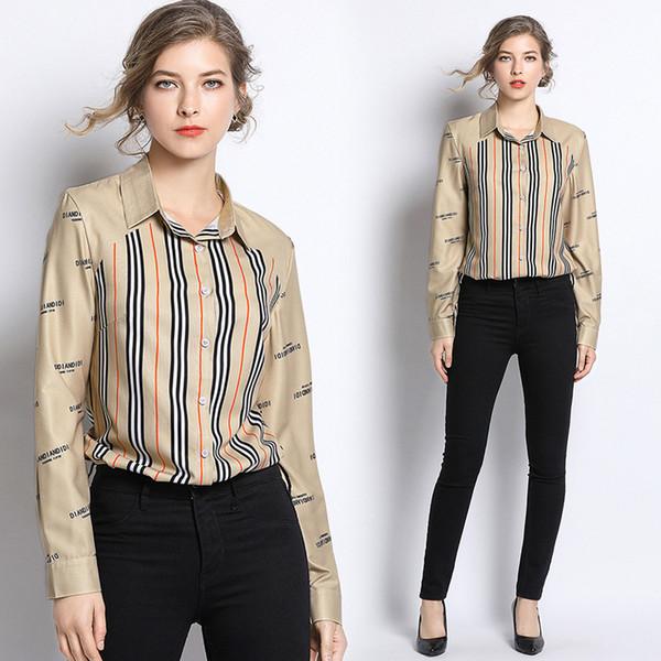 yuhanzhenbang / Mulheres Silk Primavera Queda de Luxo Clássico Listrado Imprimir OL camisetas Senhoras Casual botão Front Office lapela Neck manga comprida blusas