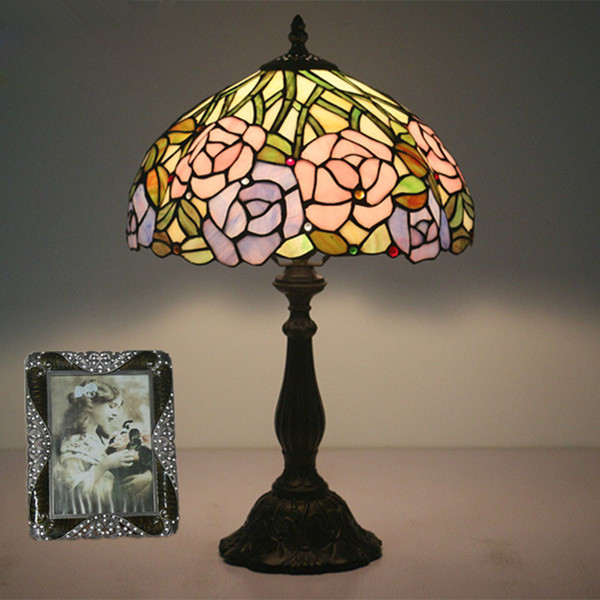 Bedroom Bedlamp European Creative Wedding Room Decor Flowers Table Lamp Bar Cafe Restaurant Lampe Study Retro Desk Lamp