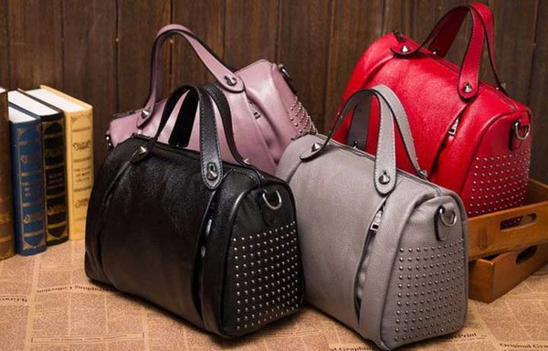 Spring New Genuine Leather Euro-American Wind Rivet Cowskin Single Shoulder Hand-held Inclined Women's Bag