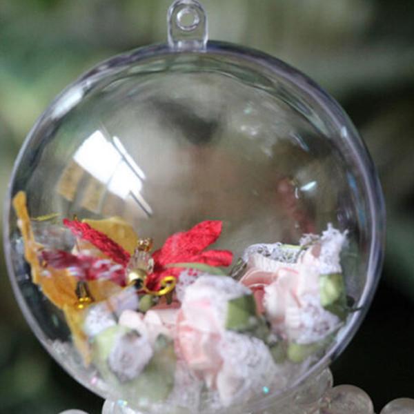 Klar Süßigkeitskästen Romantisches Design Weihnachtsdekor Ball Transparent Öffnen Kunststoff Weihnachten Hochzeit Christbaumkugel Ornament 10 Stücke