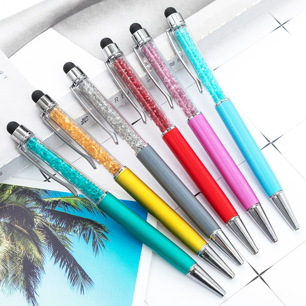 top popular Classical Model Good Quality Metal Barrels Filled Genuine Swarovski Crystal Pen With Stylus Bulk In Stock Crystal Bling Stylus Pen On Sale 2020