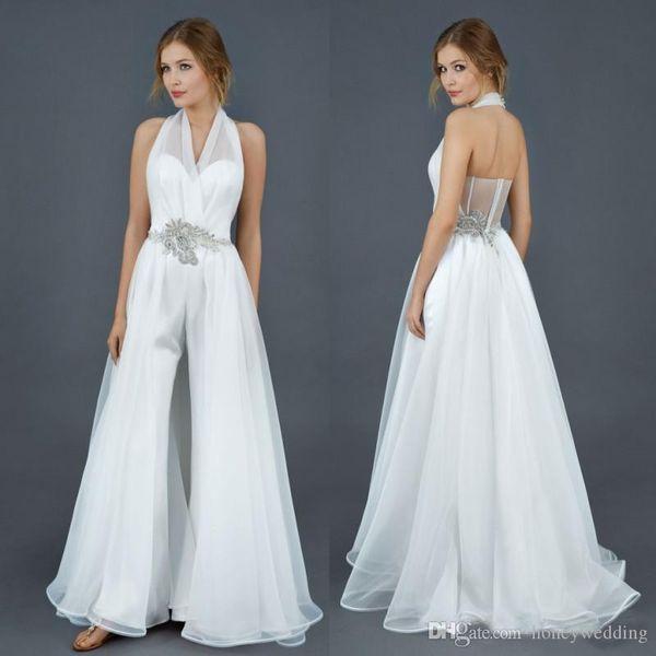 2019 White Wedding Jumpsuits Halter Crystal Belt Detachable Overskirts Custom Made Cheap Beach Wedding Gowns Plus Size Bridal Dress