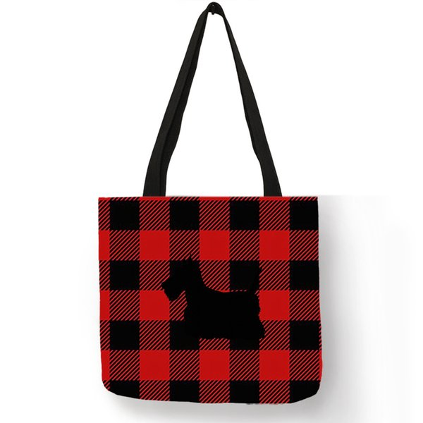 Latest Fashion Ladies Girls Classic Grid Handbag Eco Linen Material Reusable Tote Bag Scottish Terrier Dog Print Storage Bags