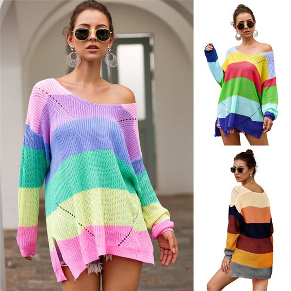 Knitted Women Sweater Hoodies Rainbow Patchwork Sweatshirt Autumn Long Sleeve Sweaters Pullover Loose Sweatshirts Knitting Blouse Tops S-XL
