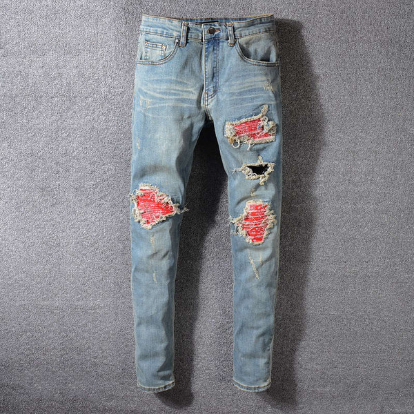 Mens Designer Pantaloni Uomo Slim strappato strappato Zipper Jeans Marchio Moda Uomo Hip Hop Jeans blu 29-40