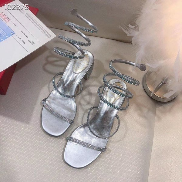 18ss Elegant Crystal Pointed Toe Wedding Shoe Women's Pumps Solid Flock Fashion Buckle Shallow High Heels Shoes for Women
