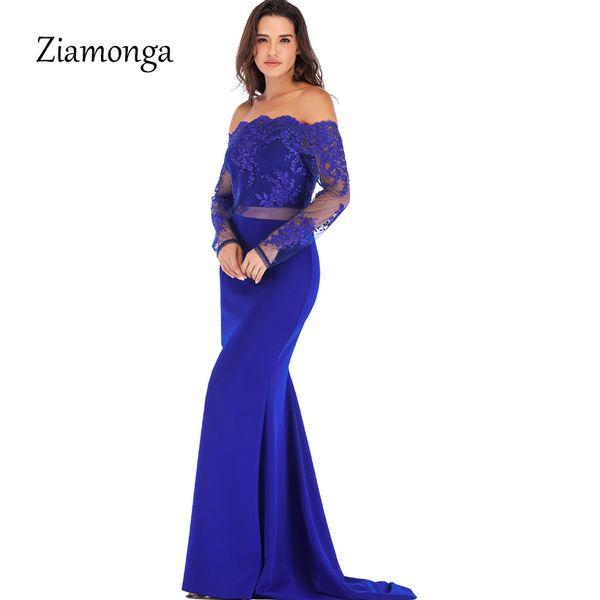pretty nice d930d 9474a Acquista Ziamonga Nero Rosso Blu Manica In Maglia A Maniche Lunghe In Pizzo  Vestito Lungo Da Autunno A Maniche Lunghe Spalle Da Sera Abiti Eleganti Da  ...
