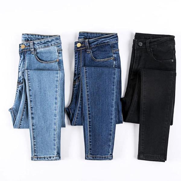 Siyah Yüksek Bel Kot Kadın Yüksek Elastik Artı Boyutu Streç İnce Skinny Jeans Kadın Rahat Pantolon Denim Kalem Pantolon Y19072301