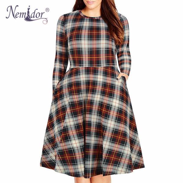 Nemidor Women Casual O-neck Short Sleeve 50s Party A-line Dress Vintage Print Midi Plus Size 8xl 9xl Swing Dress With Pockets Y19012201