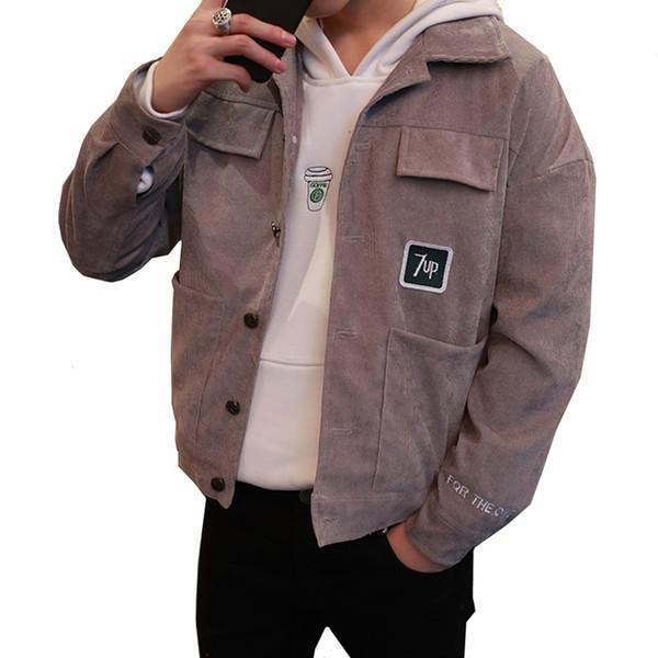 Mode coréenne veste manteau homme en velours côtelé col rabattu poches hommes vestes et manteaux occasionnels vêtements coupe-vent mâle # 512574