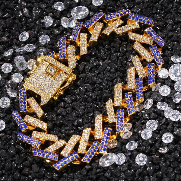 Hip Hop Micro pavimentato con strass Bling Iced Out Quadrato cubano Miami con catena a maglia Bracciali per uomo Rapper Gioielli in oro argento