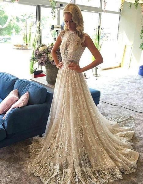 Discount Boho Wedding Dresses 2020 A Line Full Lace Bohemian Beach