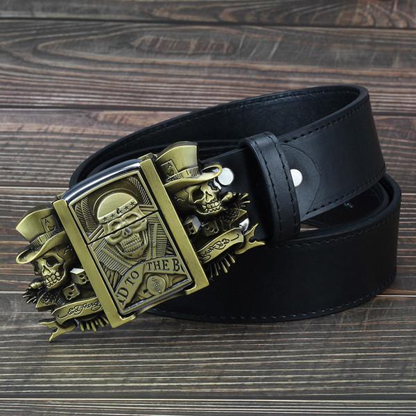 Golden Skull Novelty Cigarette Men's Leather Buckle Metal Lighters Kerosene Lighter Belt For Men Gift C19041101
