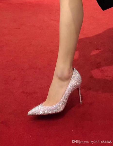 Tasarımcı kadın ayakkabıları yüksek topuklu tasarımcı topuk gelinlik ayakkabıları elmas rengi kırmızı beyaz deri topuk düz topuk 2019 lüks parlaklık