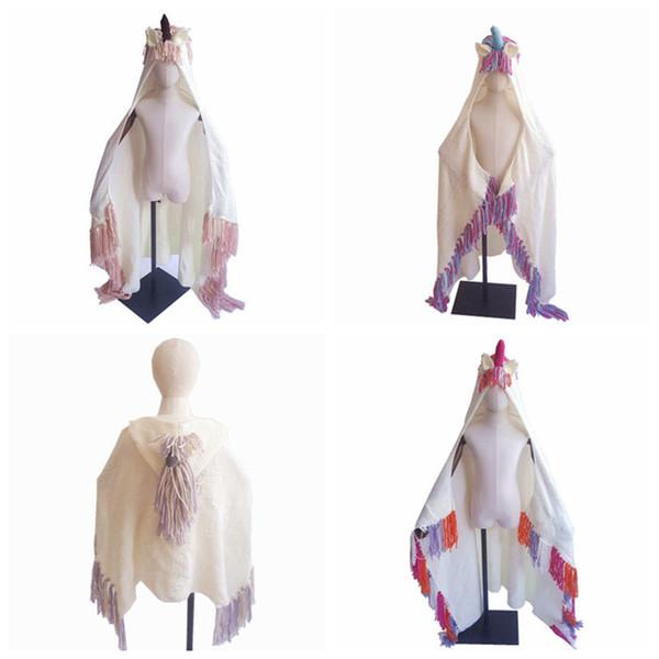 Moda coperta unicorno con cappuccio per ragazze indossabile all'uncinetto lavorato a maglia tiro magica felpa con cappuccio mantello cappello unicorno mantello ZZA833