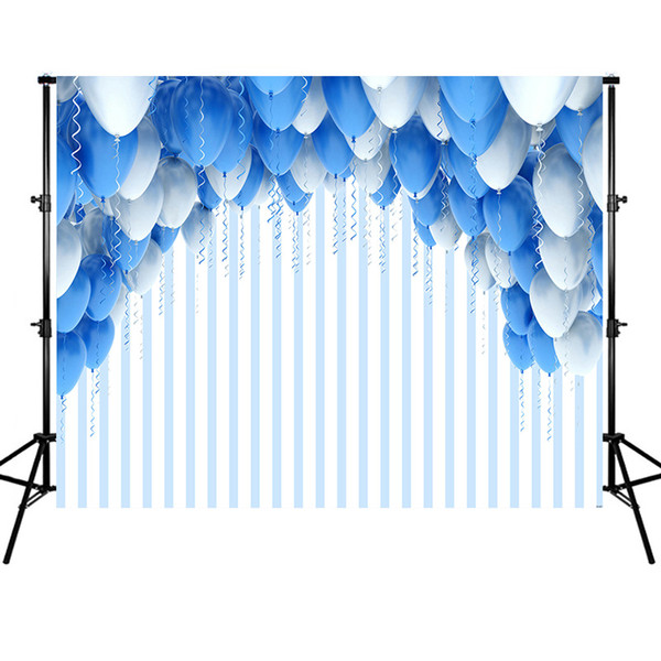 White and Blue Balloons Striped Backdrop Wedding Photo Booth Background Birthday Party Decoration for Baby Shower Kids Boys Girls