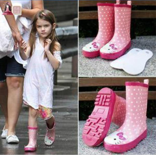 Bomboniere da pioggia PVC Rain Boot per bambini con Hello Kitty Clear Flats Heels Water Scarpe per bambini Rainboot Martin Rain Boots Girls Boot impermeabile