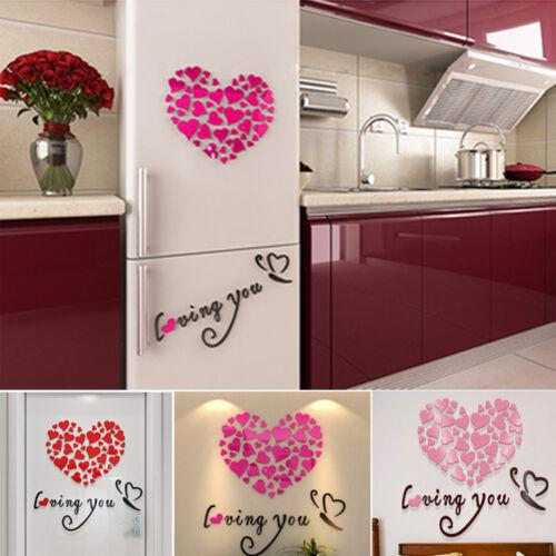 Details about DIY 3D Mirror Love Decor Quote Flower Wall Stickers Decal Home Art Decor Details about DIY 3D Mirror Love Decor Quote