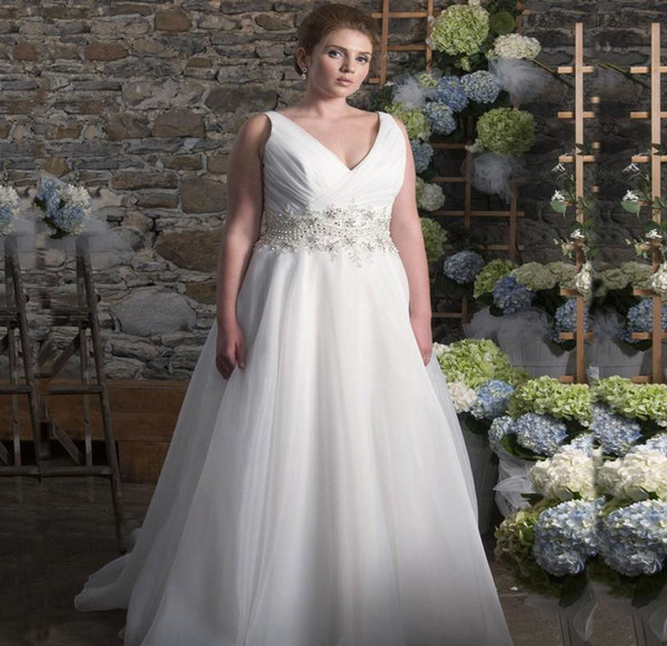 6f8ffd2a2a 2019 Plus Size White Wedding Dresses V Neck Sleeveless Pearls A Line Sweep  Train Bridal Gowns Lace-up Back Custom Vintage Bride Maxi Dress
