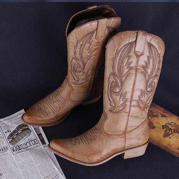 Stivali western da cowboy classici per le donne Stivali da cowgirl in pelle a punta Stivali tacchi quadrati Scarpe da donna alte