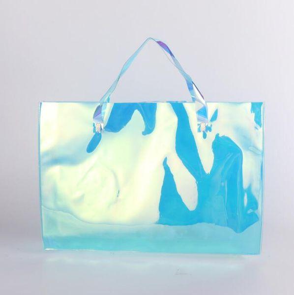 PVC Lazer Alışveriş Çantası PVC Şeffaf Plastik Çanta Renkli Ambalaj Çanta Moda Shouder Çanta Saklama Torbaları GGA2381