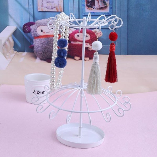 Double Layer Rotating Storage Rack Jewelry Metal Holder Organizer Earrings Bead Necklace Bracelet Revolving Display Stand Holder