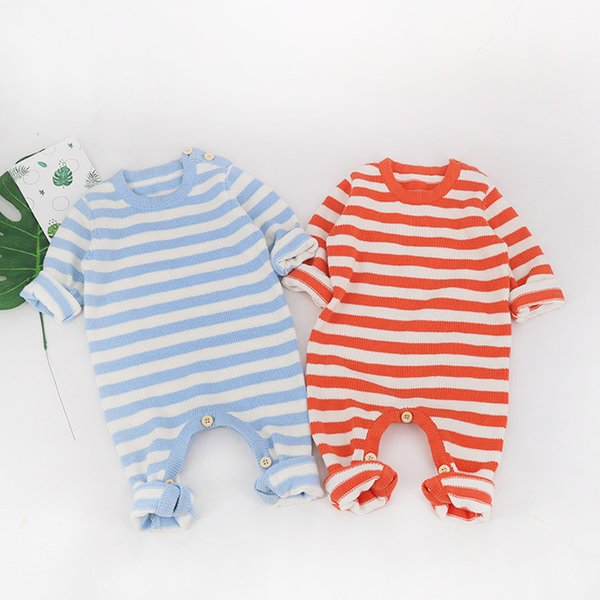 Frühling Herbst Baby gestrickte Strampler Pullover Baby Mädchen Langhülse gestrickte Overall Säuglingsjungen gestreifte Baumwollkleidung Babyspielanzug