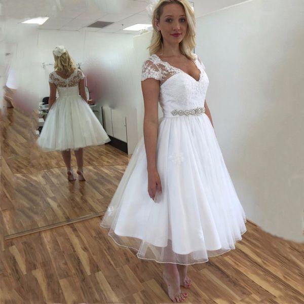 2019 Vestido De Noiva Na Altura Do Joelho-comprimento Curto Rendas De Manga Elegante Voltar Simples Vestido De Noiva De Cristal Sash Vestidos De Casamento