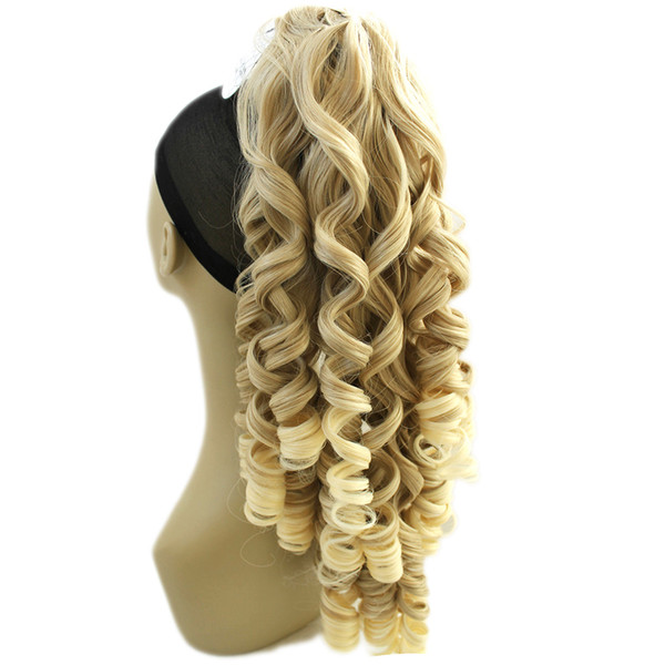 180g Long Blonde Curly Clip In Hair Extensions Pieces Tail High Temperature Fiber Synthetic Hair Claw Ponytail