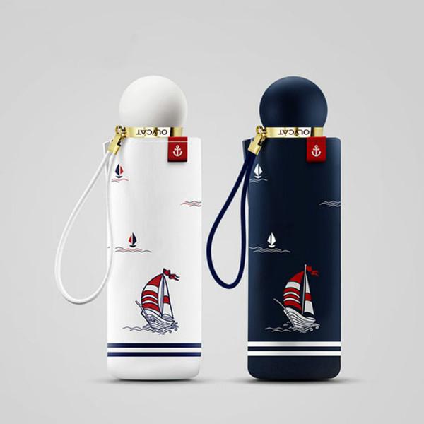 High-end sailing navy 2OCM eight-bone five-fold umbrella hitting cloth strong reinforcement windproof sunscreen rain dual-use